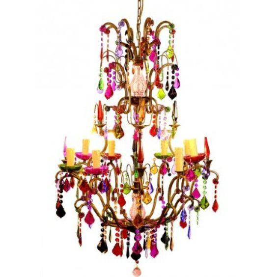 Busco una lampara de techo ara a con l grimas de cristal de colores - Lampara arana colores ...