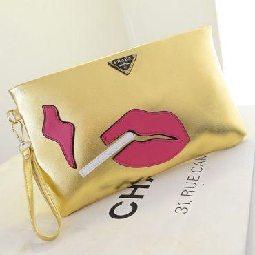 prada wallet for women - Prada Replica Lips & Smokes Silver, Black, and Gold Clutch Bag ...