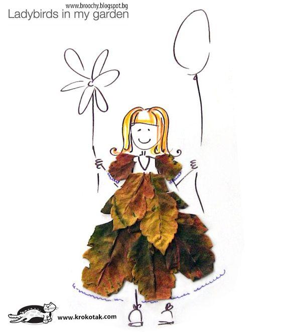 Lavoretti d'autunno con le foglie: la b ambina col palloncino