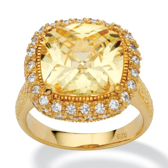 4.54-Carat Cushion-Cut Canary-Colored Cubic Zirconia 18k Yellow Gold over Sterling Silver Ring at PalmBeach#