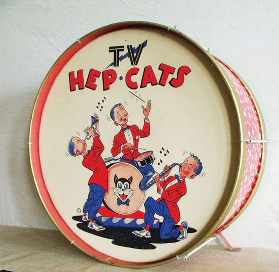 Vintage Mid Century Toy Drum Hep Cats by robinseggbleunest on Etsy
