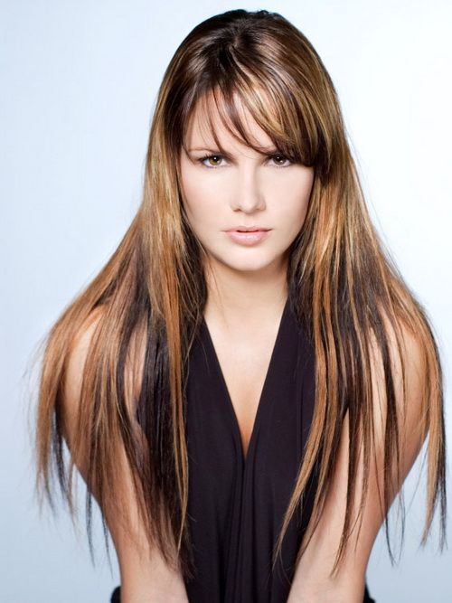 Image result for Thin bang with bright blonde highlights