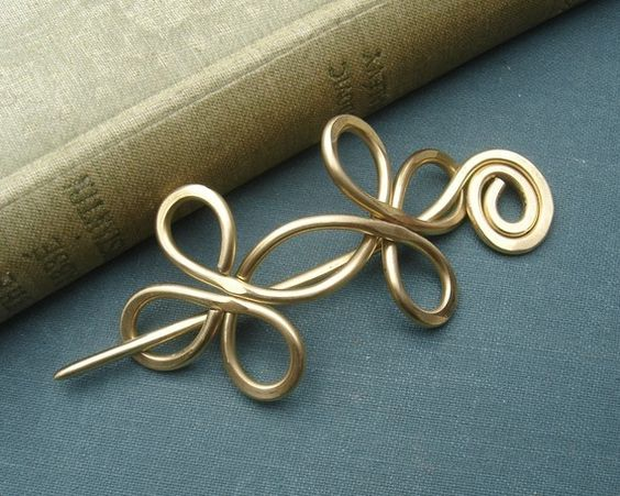 Brass Shawl Pin / Hair Pin / Scarf Pin  by nicholasandfelice, $18.00