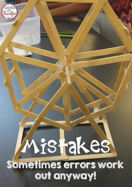 STEM Challenge: Build a hexagonal Freris wheel! Look closely at the photo. Can you spot the mistake? It's not a hexagon. That Ferris wheel has SEVEN sides!