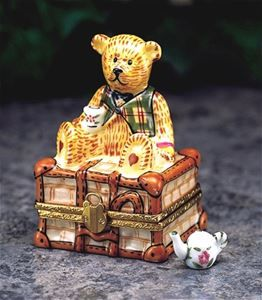 Limoges Antique Teddy on Chest Box The Cottage Shop