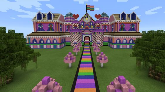 Minecraft rainbow candy pink house minecraft creations for How to build a castle home