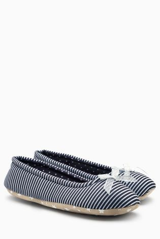 Monochrome Stripe Ballerina Slippers