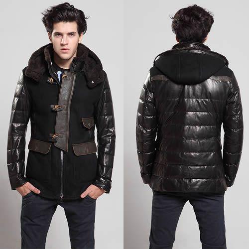 Black Sheepskin Leather Fur Hooded Dress Down Coat Clothing for Men SKU-116168