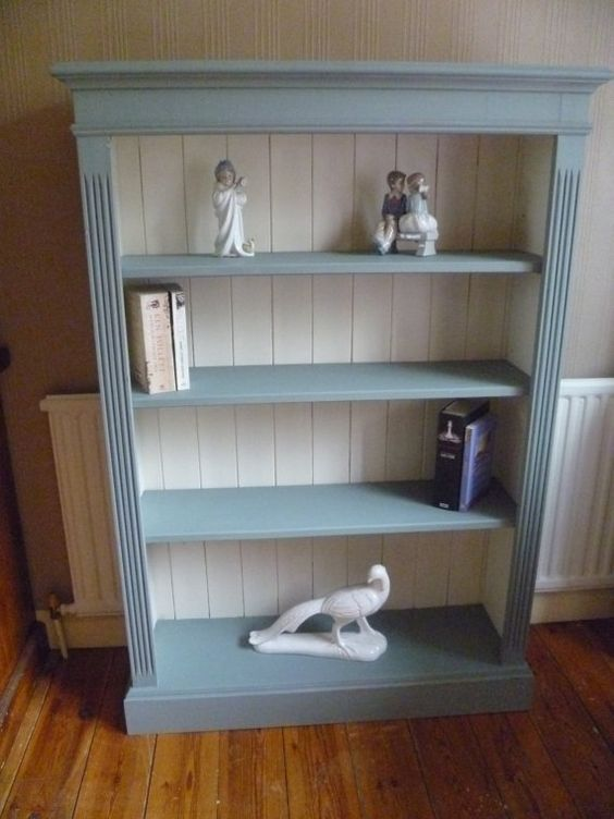 Up-cycled Solid Pine Bookcase in Annie Sloan Duck Egg & Original White chalk paint - Shabby Chic!