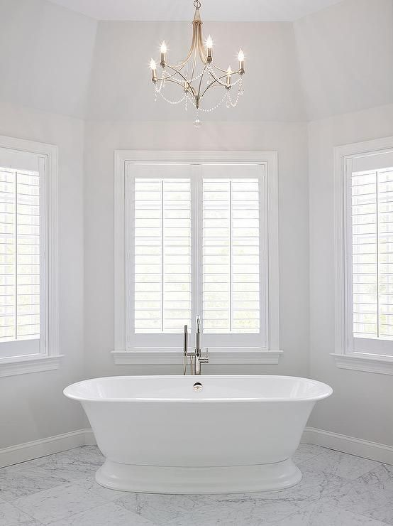 An Elegant Bathroom Painted With Paper White By Benjamin Moore White Bathroom Paint Bathroom Paint Colors Paper White Benjamin Moore
