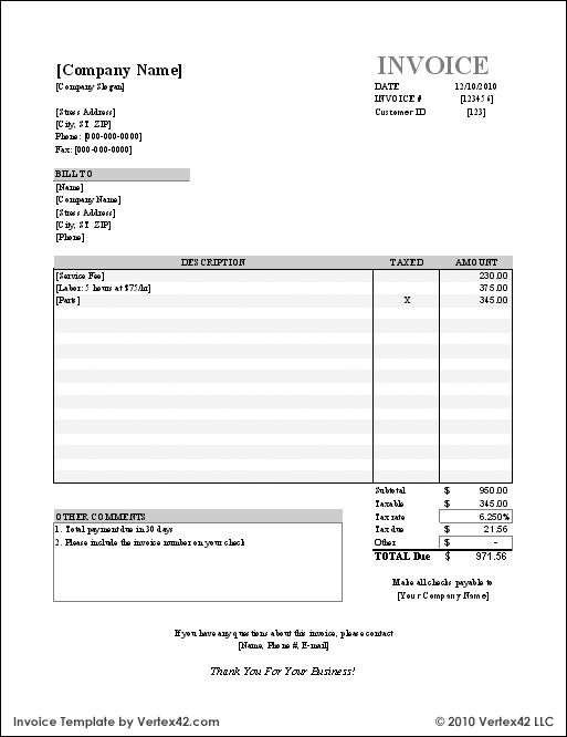 Computer Sales \ Service Invoice Template Office Templates - labor invoice template free