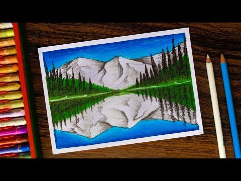 Mountain With Reflection Drawing For Beginners With Oil Pastels Step By Step Youtube Reflection Drawing Oil Pastel Oil Pastel Drawings