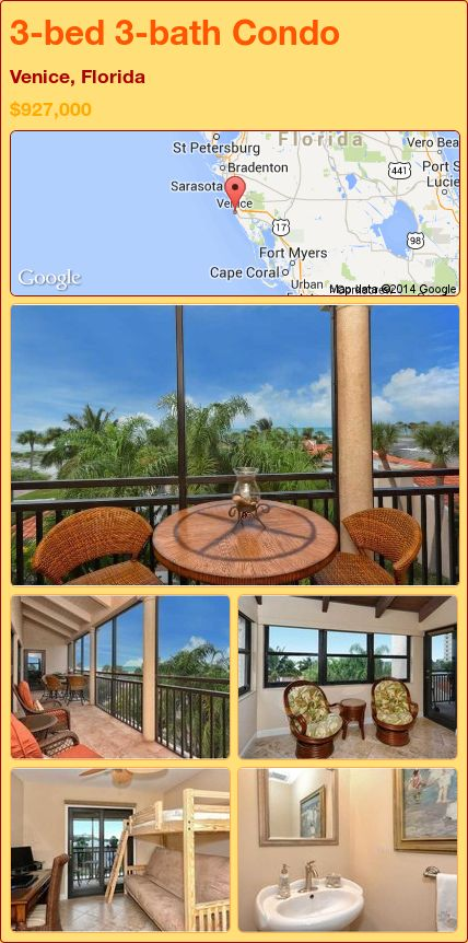 3-bed 3-bath Condo in Venice, Florida ►$927,000 #PropertyForSale #RealEstate #Florida http://florida-magic.com/properties/78033-condo-for-sale-in-venice-florida-with-3-bedroom-3-bathroom