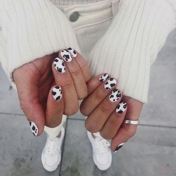 Cow Print Nail Art Idea