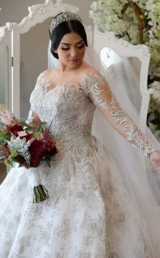 Sheer Long Sleeve Plus Size Wedding Gown Plus Size Wedding Gowns