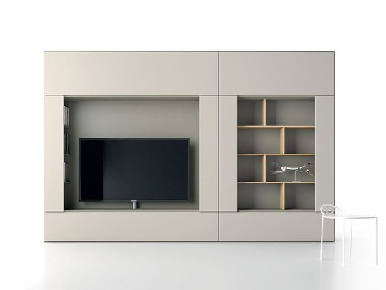 ROOMY Módulo de arrumação de parede com suporte para TV by Caccaro design Sandi Renko, R