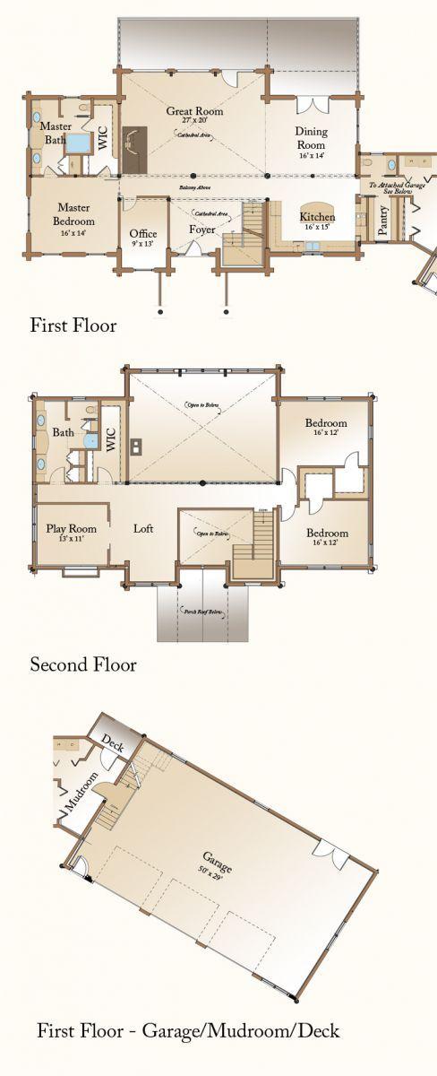 Rockville Log Home Floor Plan First Floor | Such a wonderful plan | Real Log Homes