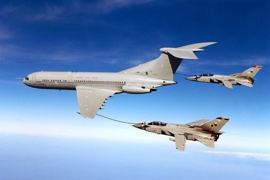 RAF Vickers VC-10K tanker/transport refuelling a pair of Panavia Tornados. Retiring from RAF service after 47 years service September 2013. Will be replaced by the Airbus Military A330 MRTT (Multi Role Tanker Transport).