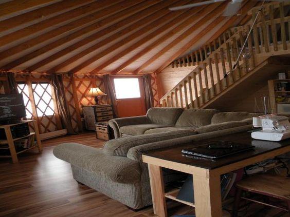 Yurts yurt living and simple living on pinterest for Yurt interior designs
