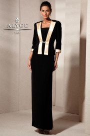 Sleek and Sophisticated Black and Champagne Evening Gown with Jacket 29601 at www.GownsBySimple...