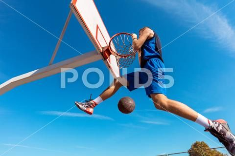 Slam Dunk Side View Of Young Basketball Player Making Slam Dunk Stock Photos Ad View Young Basketball Slam Basketball Players Slam Dunk Players