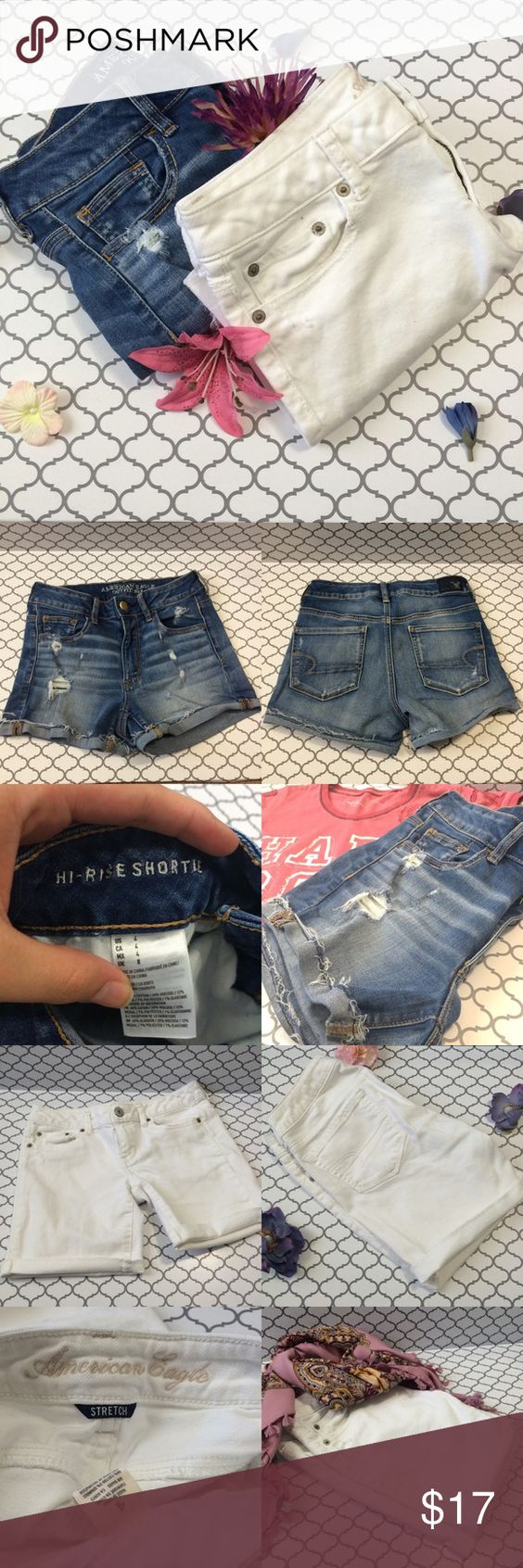 American Eagle shorts bundle One pair of white Bermuda shorts size 4 and one pair of hi rise shortie shorts with some distressing, also size 4. Super cute shorts from AEO! No trades. No ️️. No Ⓜ️ercari. Ask me about bundles  Offers submitted via the offer button are always considered American Eagle Outfitters Shorts Jean Shorts