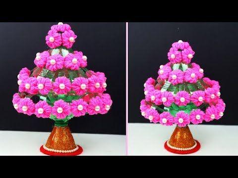 Woolen And Plastic Botte Flower Guldasta Recycle Plastic Bottles Plastic Bottles Flowers