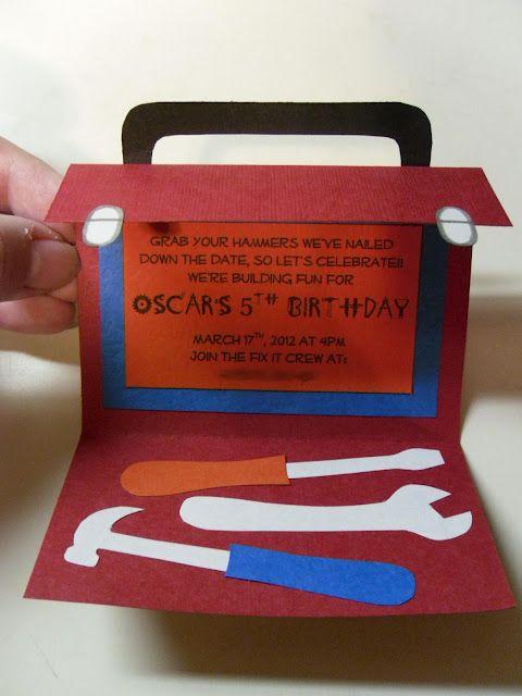 Construction party toolcase  invititation