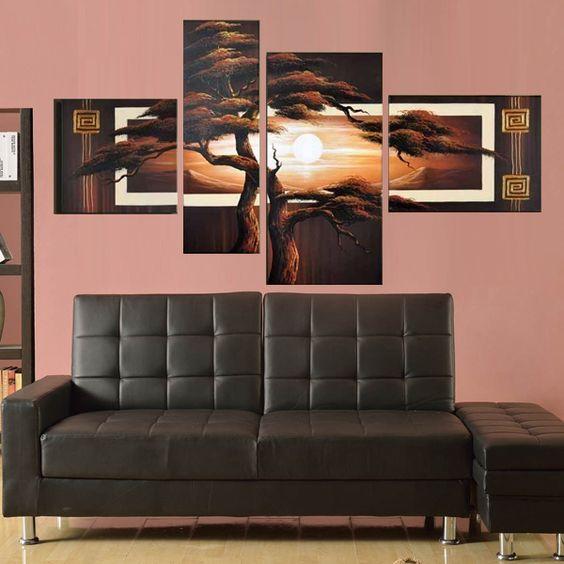Quadri moderni con paesaggio e albero dipinti a mano olio su tela (SJMY2919)