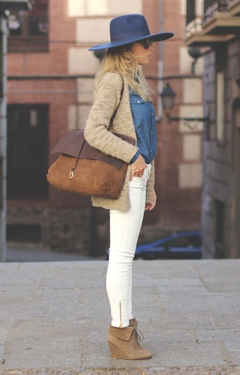 Beige wedge ankle boots beige cardigan white skinny ankle zipper