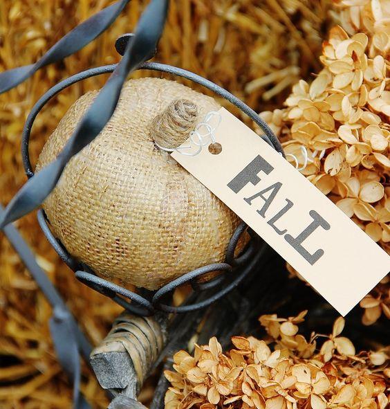 Burlap_Pumpkin...from thistlewood farm..so easy, dollar store pumpkin, rectangles of burlap, modpodge and twine...waala! I'd skip the tag ;)