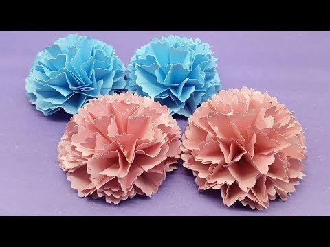 How To Make Carnation Flower Out Of Paper Making Paper Flower Step By Step Youtube