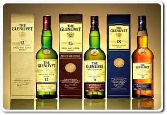 The Glenlivet Single Malt Whisky 12, 15, 18 Year Old
