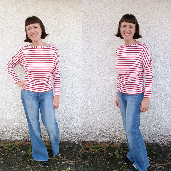 Striped long sleeved top length version of the Dolores batwing pattern by Zoe (So Zo):