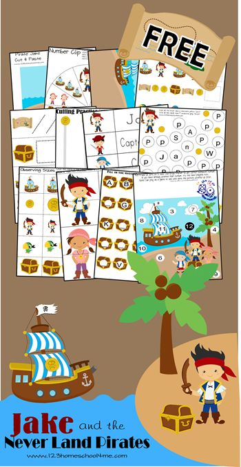 FREE Jake and the Neverland Pirates Worksheets for Kids #disney #preschool #homeschool #worksheetsforkids