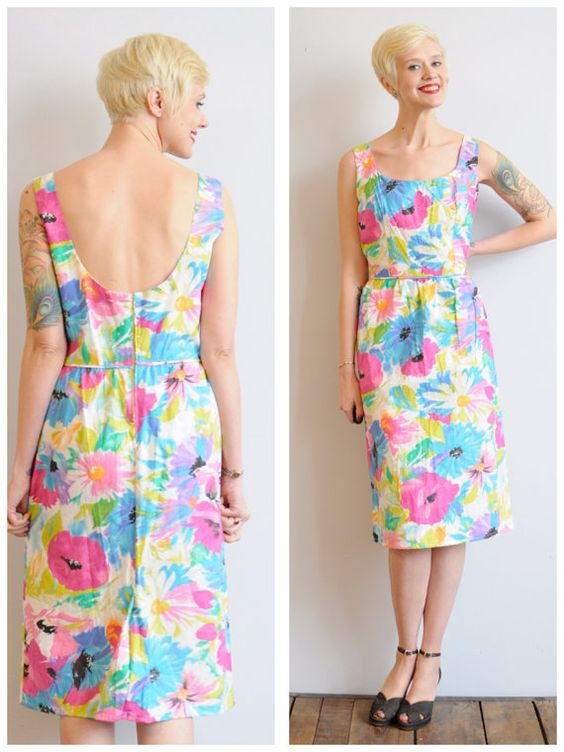 1960s Dress // Watercolor Floral Sheath // by dethrosevintage, $58.00