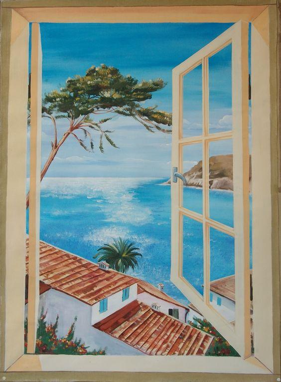 Trompe l finestra trompe l oeil su tela oleos pinterest tela - Trompe l oeil finestra ...