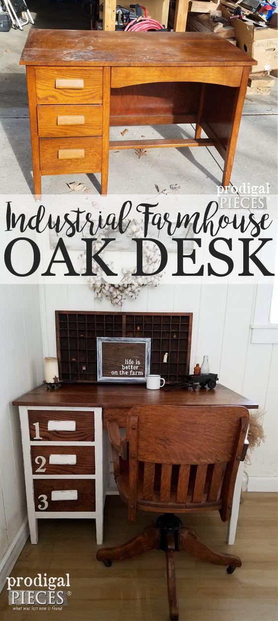 Vintage Oak Desk Gets Industrial Farmhouse Style Makeover by Prodigal Pieces | prodigalpieces.com: