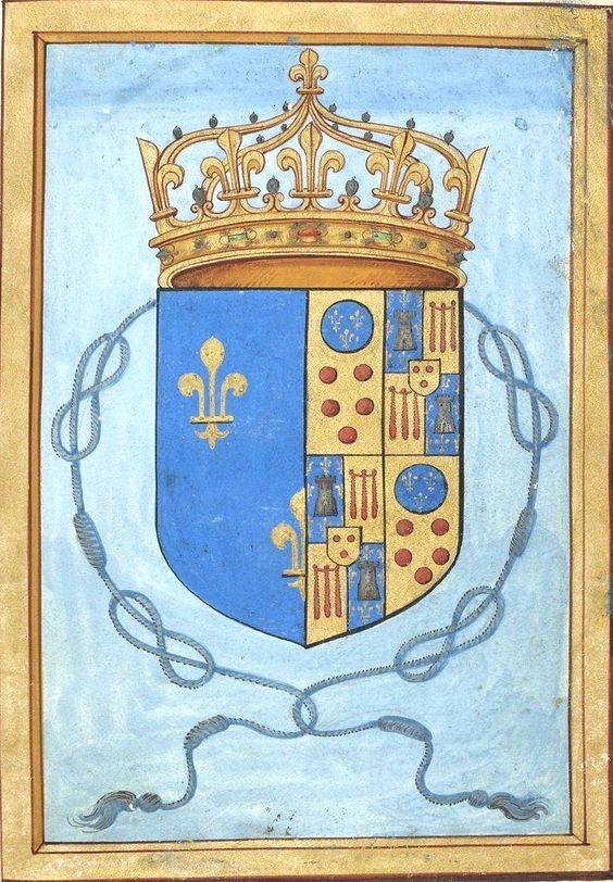 """Armes de Marie de Médicis, reine de France, avec la cordelière de veuve (f°Br) -- «Petites Heures de la reine Anne de Bretagne», 1401-1500 [BNF Ms NAL 3027 - ark:/12148/btv1b84328965] -- Le parti senestre correspond aux armes Médicis qui peuvent se résumer ainsi : """"écartelé : aux 1 et 4 : Médicis ; aux 1 et 3 (contre-écartelé : aux 1 et 4 : La Tour ; aux 2 et 3 : Auvergne ; sur le tout : Boulogne""""):"""