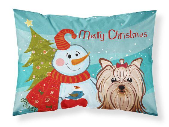 Snowman with Yorkie Yorkshire Terrier Fabric Standard Pillowcase BB1824PILLOWCASE