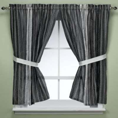 Manor Hill® Sierra Onyx Window Panel Pair with Tie Backs - BedBathandBeyond.com