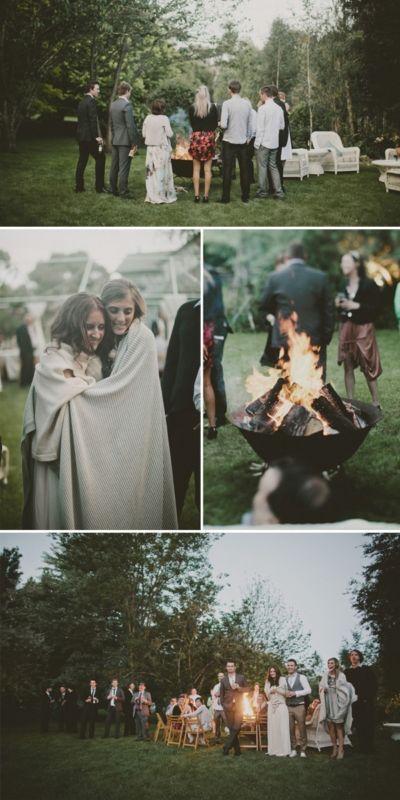 Backyard Bonfire Wedding : Fall Wedding end the night with a bonfire to roast those SMores