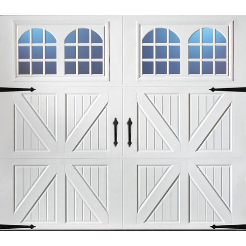 Pella Carriage House 108 In X 84 In Insulated White Single Garage Door With Windows White Garage Doors Garage Doors Garage Door Windows