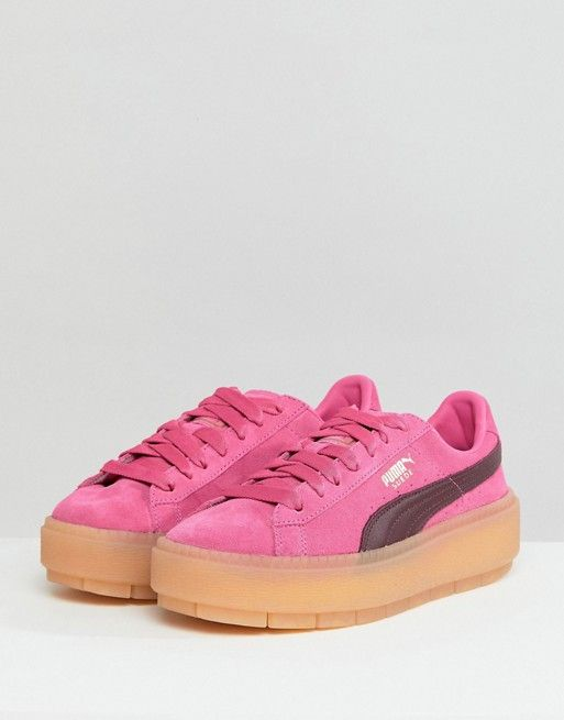 prevalent new appearance brand quality Puma Trace Platform Trainers In Pink And Black in 2019 ...