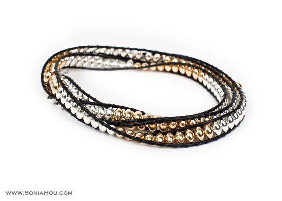 LIMITED EDITION: Black Leather Wrap Bracelet With 14K Gold Filled And Sterling Sliver Beads
