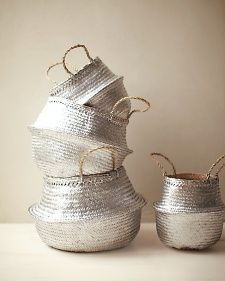 DIY Silver Spray-Painted Straw Baskets