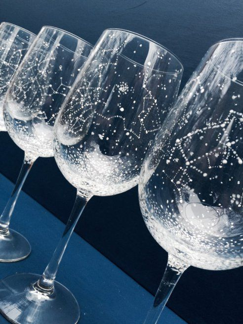 constellation wine glasses by ballousky | via Starry Night Weddings http://emmalinebride.com/vintage/starry-night-weddings-ideas/