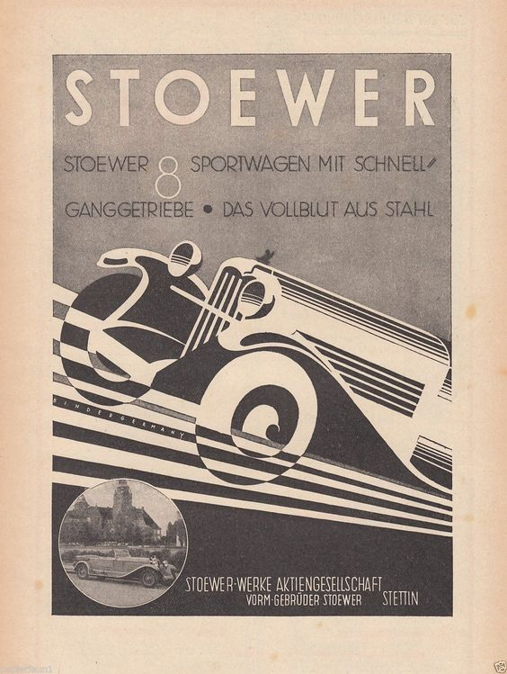 Stoewer 8 Reklame von 1930 Stettin Sportwagen Kühlerfigur