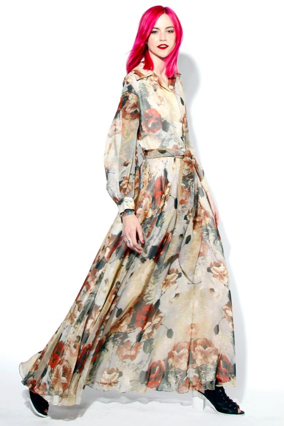 Vintage 1970s Floral Print Maxi Dress with a Full Sweep | Thrifted & Modern #70s #1970s #thriftedandmodern #vintage