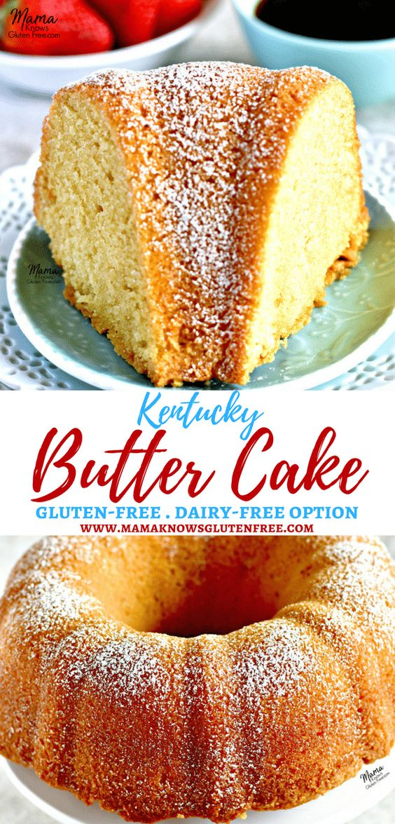 This gluten-free Kentucky Butter Cake is a simple pound cake that is moist, buttery and coated with a sweet buttery glaze that creates a perfect sweet crunchy crust. gluten-free pound cake, gluten-free cake Recipe from www.mamaknowsglutenfree.com #poundcake #glutenfreecake #glutenfreedessert